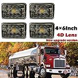 4X6 INCH Rectangular LED Headlights Conversion Kit H4 Plug Sealed Beam Headlamp 45W Hi/Lo Beam Replace H4651 H4652 H4656 H4666 H4668 H6545 for Truck Kenworth Peterbilt FREIGHTLINER Western Star