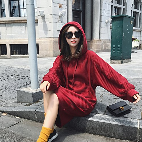 Straight Head Sleeved Jacket Xuanku Long Lazy The red Cap Long Female And Is Sets Thin Sweater qIIPFSwnO