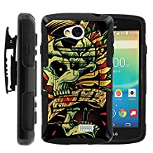 LG Tribute, Transpyre, and F60 Full Phone Protection Dual Layer Belt Clip Holster Combo Case Combo SKULL and Bones Artwork Series by Miniturtle ® - Tattoo Skull