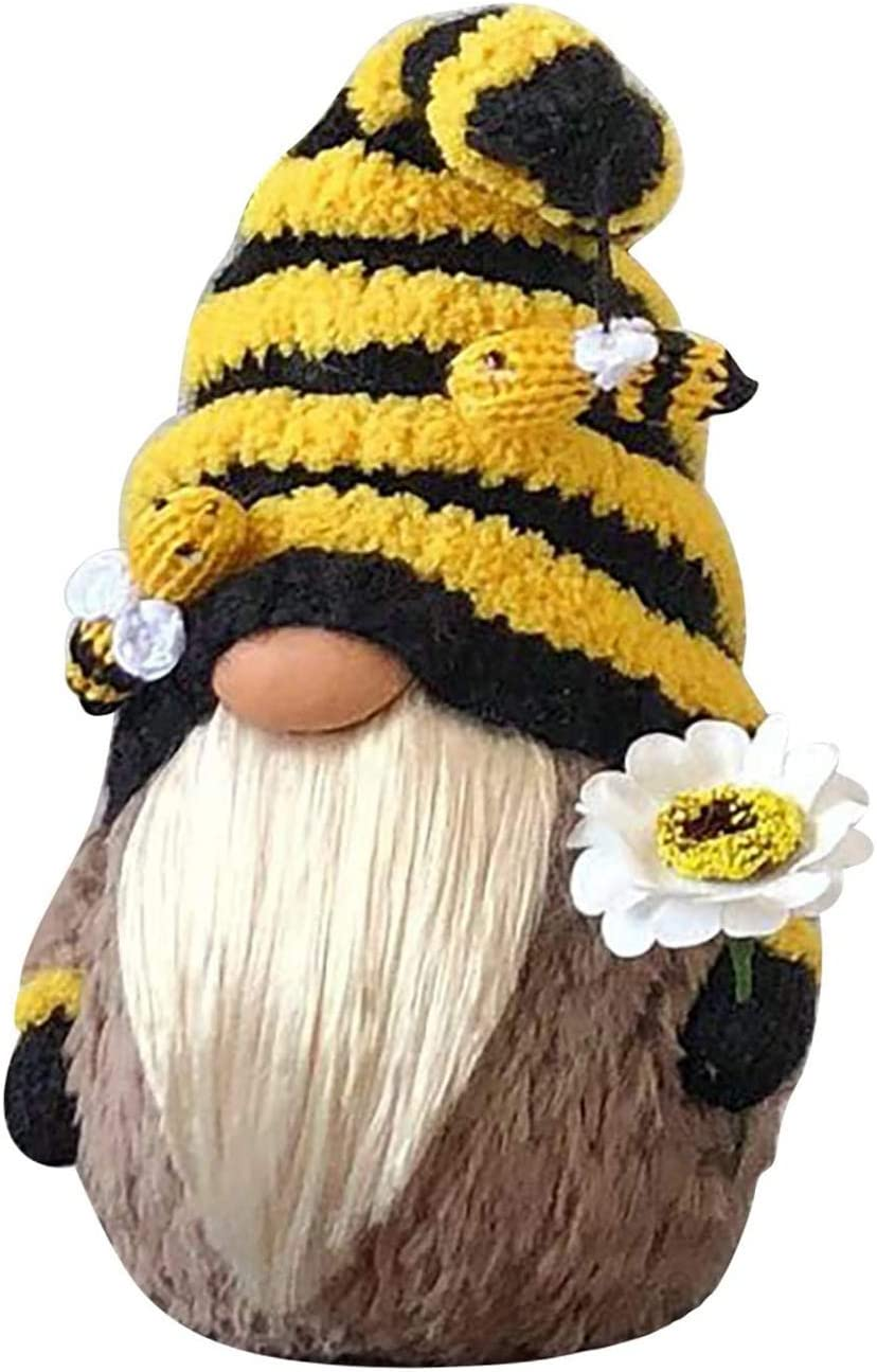 ZJP The Best Heart-Shaped Furniture Decoration for Knitted Plush Dolls on World Bee Day, Hand-Made Cute Dwarf Faceless Dolls, elf Ornaments Dressed as Bees