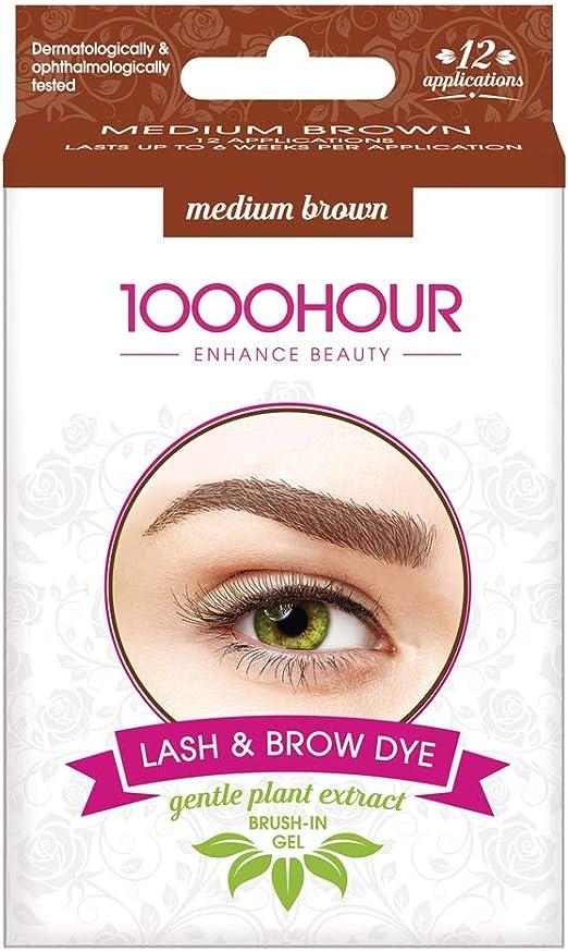 1000 horas de tinte para pestañas y cejas - cepillo para extracto de plantas suave en kit - marrón medio