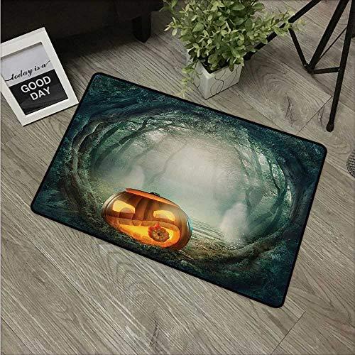 Anzhutwelve Halloween,Doormat Drawing of Scary Halloween Pumpkin Enchanted Forest Mystic Twilight Party Art W 31