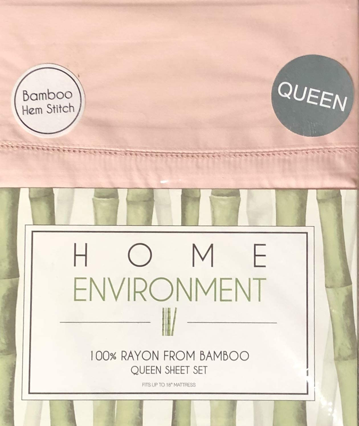 Home Environment Premium Rayon Bamboo (4) Queen Sheet Set Wonderfully Soft in Pink Blush with Hem Stitch
