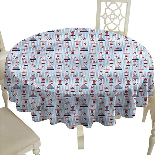 Wave Bistro Table - Personalized Tablecloths Lighthouse,Ocean and Waves,for Bistro Table