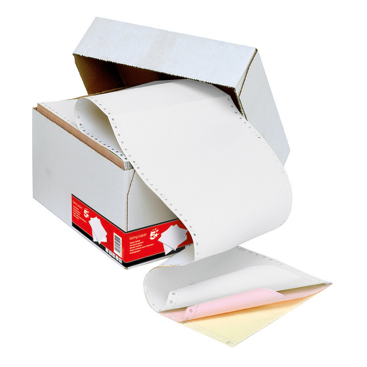 Challenge Listing Paper 3-Part Carbonless Standard Perforated Sheets 11inchx241mm 3 Colours [700 Sheets] by Challenge