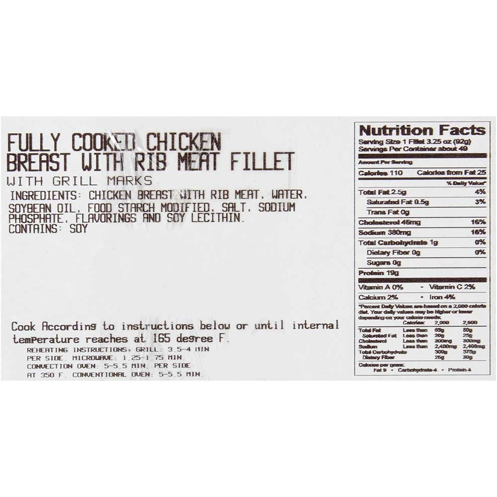 Dutch Quality House Naturelle Fully Cooked Seasoned and Grill Marked Chicken Breast Fillets, 3.25 Ounce - 1 each. by Dutch Quality House