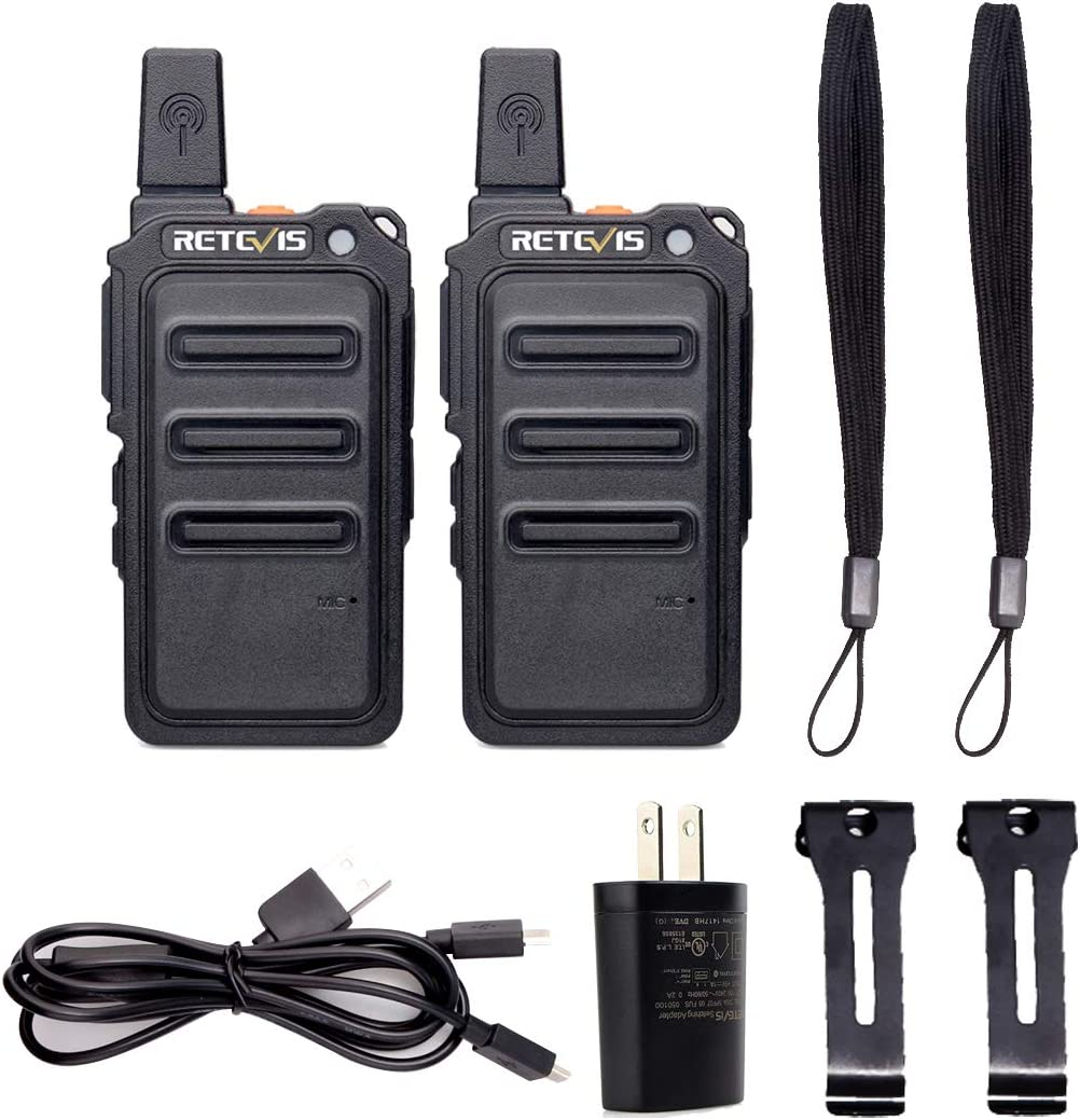 Retevis RT19 Walkie Talkies Rechargeable 22 Channel Lock Light Thin Small Two Way Radio Long Range 2 Pack