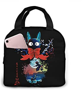 Anime Kiki's Delivery Service Reusable Insulated Lunch Bag Tote Bag Cooler Lunch Bag with Front Pocket for Woman Man Students Work Picnic Or Travel