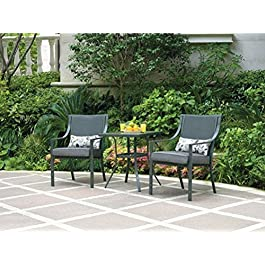 Alexandra Square 3-piece Outdoor Bistro Set, Grey ...