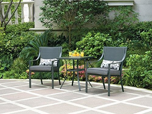 Cheap Alexandra Square 3-piece Outdoor Bistro Set, Grey with Leaves