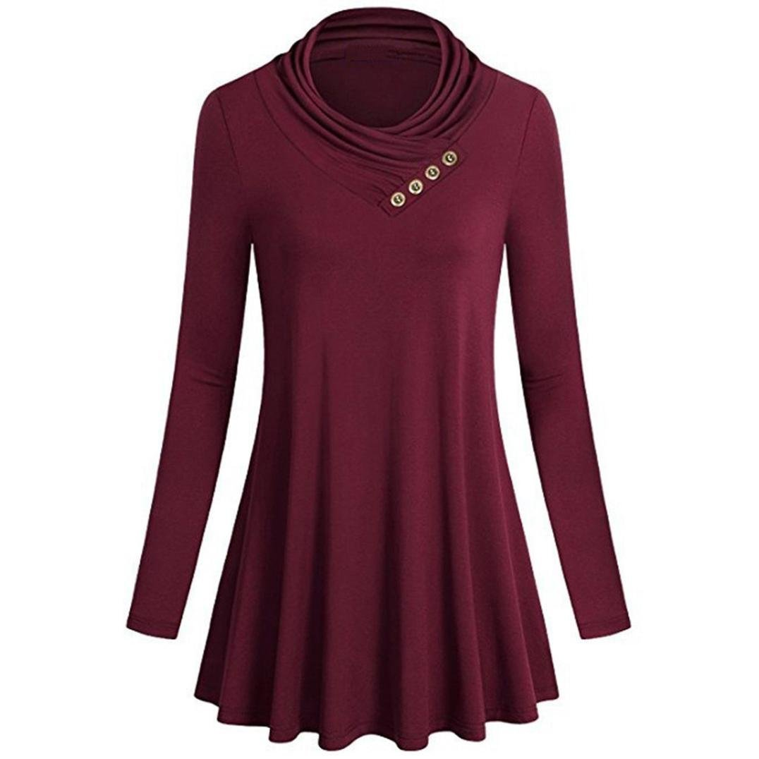 Hattfart Women Long Sleeve Flowy Tank Button up Pleated Ruffle Shirts Tunic Tops Blouses (Red, S)