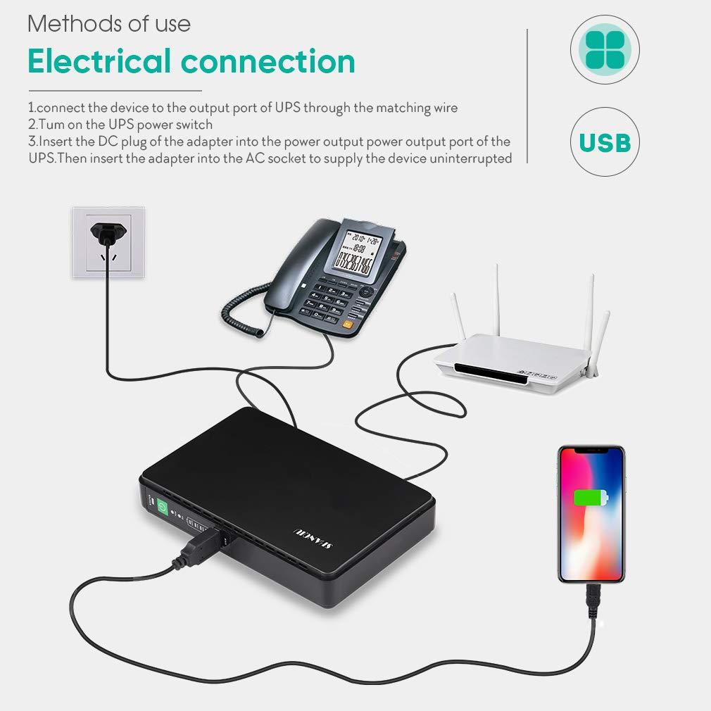 USV Mini UPS Unterbrechungsfreie Stromversorgung f/ür Modem Router PSP mit POE mit Eingebauter Powerbank Batterie 8800mAH Akkupack Eingang 100-240V AC Ausgang 5V 9V 12V 15V 24V DC Videokamera Handy