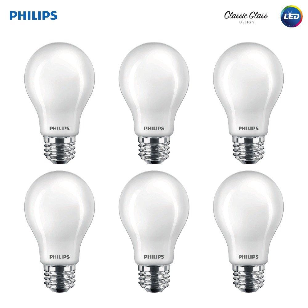 7-Watt Frosted 2700-Kelvin E26 Base Soft White 60-Watt Equivalent Philips LED Classic Glass Non-Dimmable A19 Light Bulb: 800-Lumen 6-Pack 470732