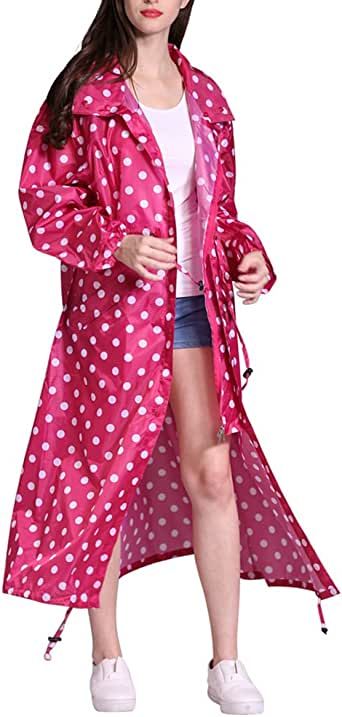 Zhuhaitf Women's Lengthen Raincoat Fashion Full Sealant Portable Foldable Waterproof Poncho Rain Jacket Rain Coat for Lady