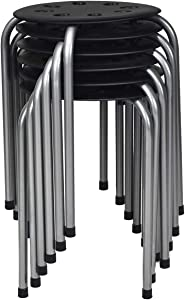 Costway 6Pack Plastic Stack Stools, 17.5Inch Portable Stackable Stools with Metal Frame, Backless School Classroom Decoration Stools with Round Top Ideal for Kids Children Students, Black and Steel