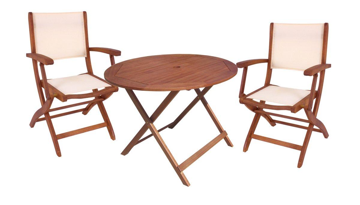 Tischgruppe Fargo mit 2 Klapparmstühlen und Klapptisch Ø90 cm Sitzgruppe Gartengruppe aus geöltem Eukalyptus Camping