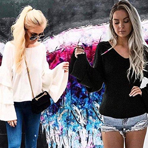 HARRYSTORE 2017 Las mujeres de manga larga de punto jersey Suéter suelto Jumper Tops de punto Blanco