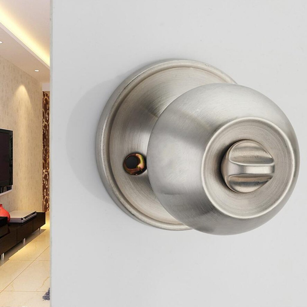 Baoblaze Entrance Round Ball Shape Knob Lock Home Door Lock Lever Handle with 3 Keys