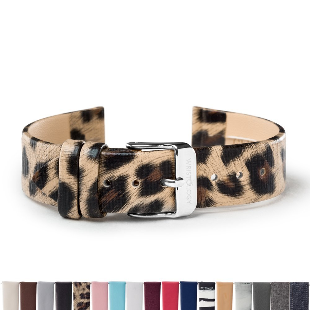 WRISTOLOGY Silver 18mm Womens Easy Interchangeable Watch Band (Leopard)