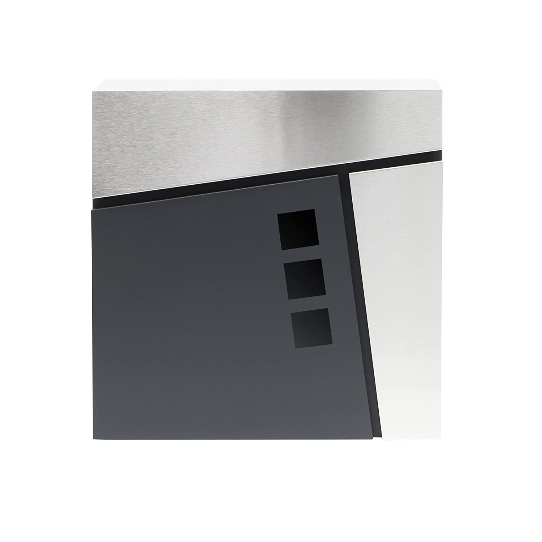 Moderner Design Briefkasten V24 Anthrazit pulverbeschichtet Wandbriefkasten Edelstahl Zeitungsrolle