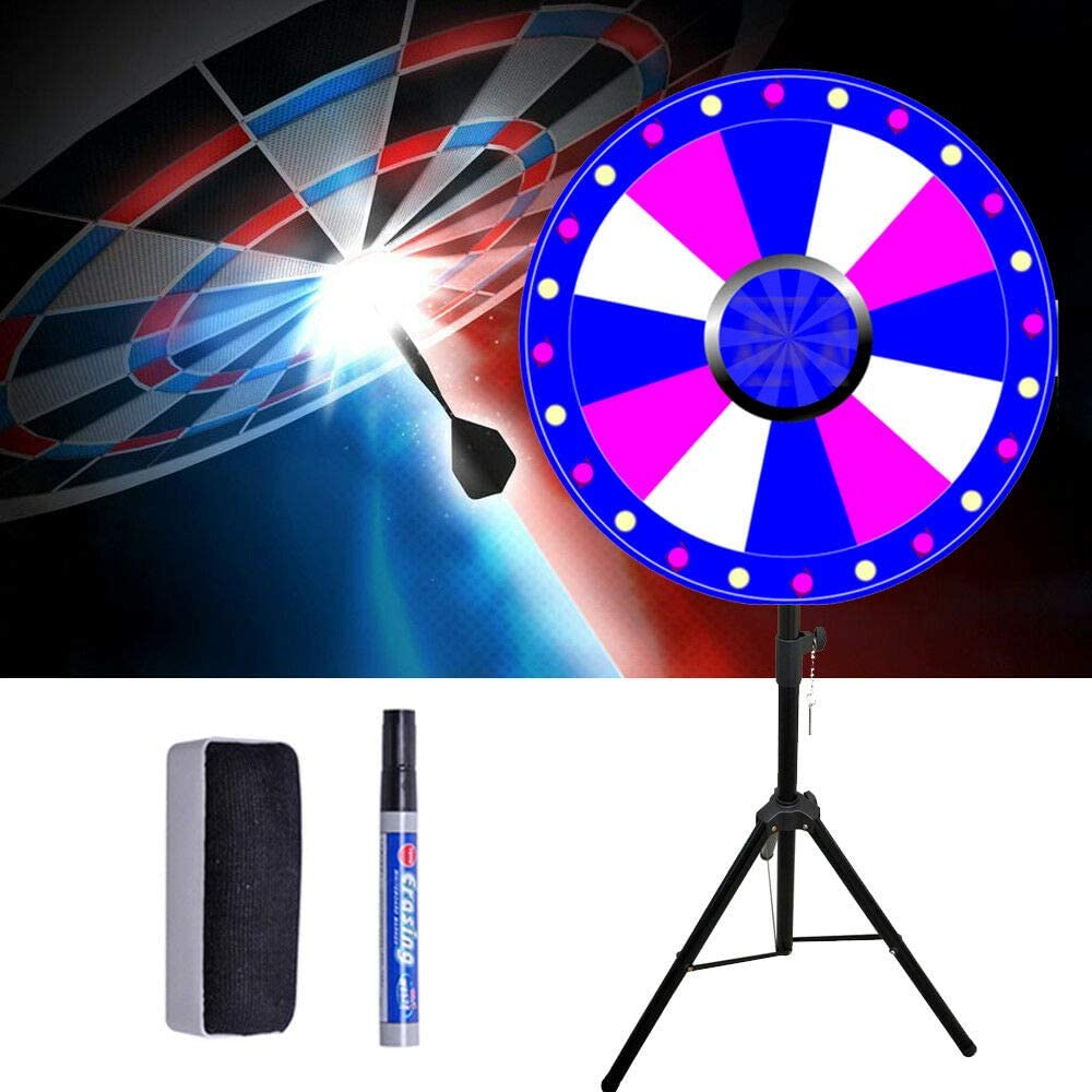 WUPYI 24 Inch Color Spinning Prize Wheel with Folding Tripod Floor Stand for Carnival Fortune Spinning Game,12 Slots