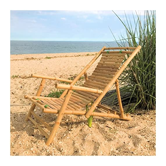 Whole House Worlds Key West Classic Sling Lounge Chair, Natural Bamboo with Slats and Canvas, Tortoise Shell Finish, 4 Adjustable Positions, Fold-Away, 46 1/2 Inches, by WHW - A TOUCH OF THE TROPICS Enjoy high style looks with low-energy vibes in the cozy Key West Classic Sling Back Beach Chair. Loaded with everything you could want in a relaxing beach chair, it brings together incredible comfort, a solid bamboo frame that folds easily for carrying, and a gorgeous slated back. HANDCRAFTED of high quality bamboo by our expert artisans, natural bamboo is cut, sanded and finished with a clear varnish. On the back, 2 thick and sturdy canvas strips hold each of the 28 slats in place and allow them to gently support your back as you sit down. GREAT SIZE, this chair measures as follows: 46 1/2 D x 23 5/8 W x 29 1/8 H inches. - patio-furniture, patio-chairs, patio - 61yNlIFec5L. SS570  -