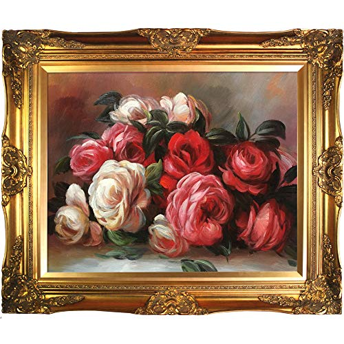 La Pastiche overstockArt Renoir Discarded Roses Artwork with Victorian Gold Frame Finish