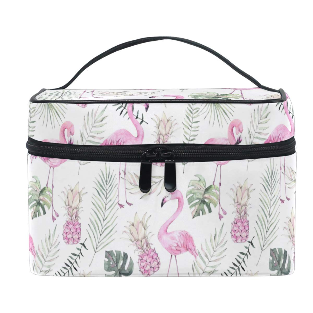 Flamingo Palm Leaves Pattern Luggage Bag Capacity Portable Large Travel Duffel Bag Makeup Storage