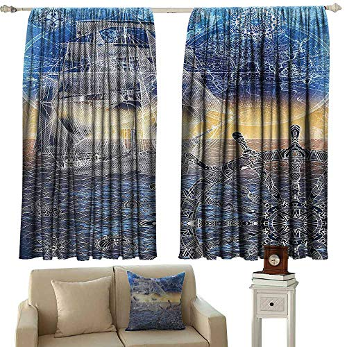 Outdoor Patio Curtains Home Decor Collection Nautical Print with Mandala Patterns of Explorer Ship Map of The World Steering Wheel Sails Ocean Waterproof Patio Door Panel W63x45L Inches Blue ()