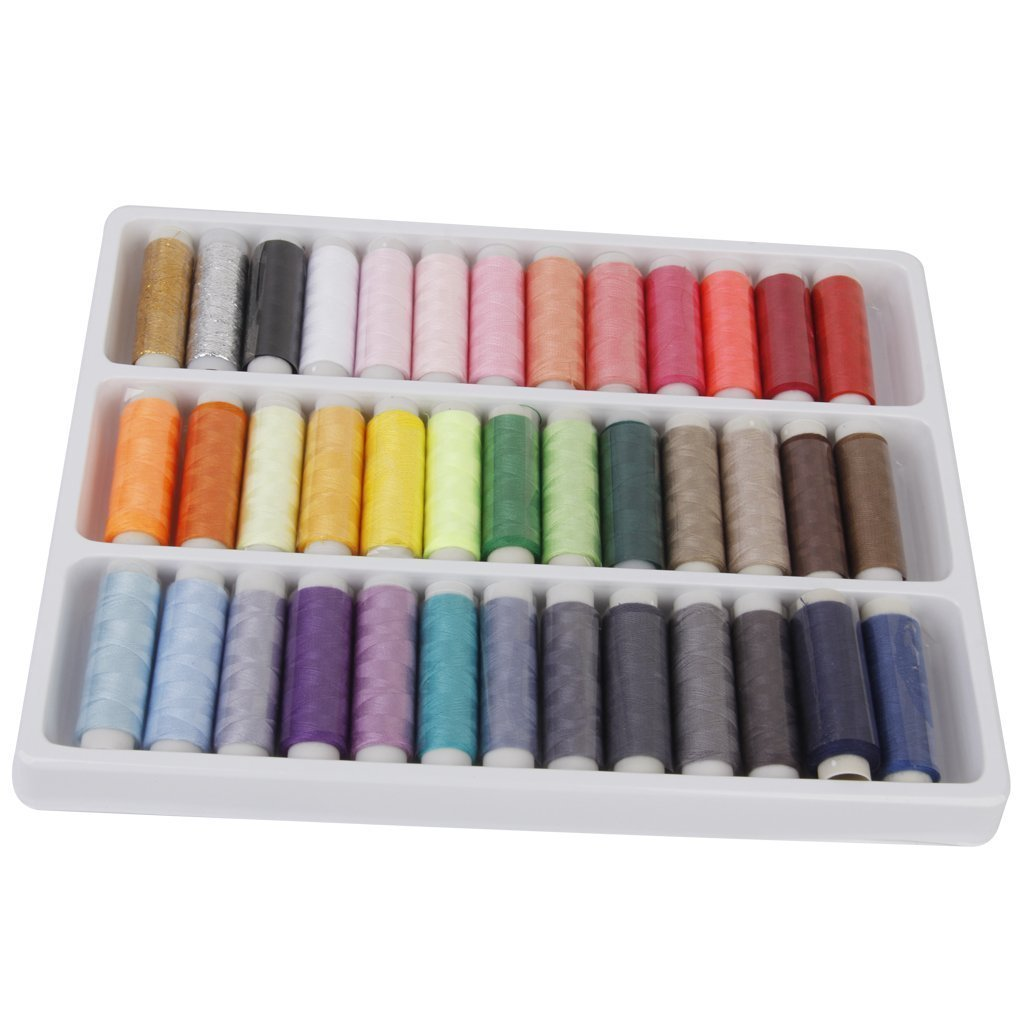 LyonsBlue 39 Assorted Color 200 Yards Per Unit Polyester Sewing Thread Spool Set LY-0023