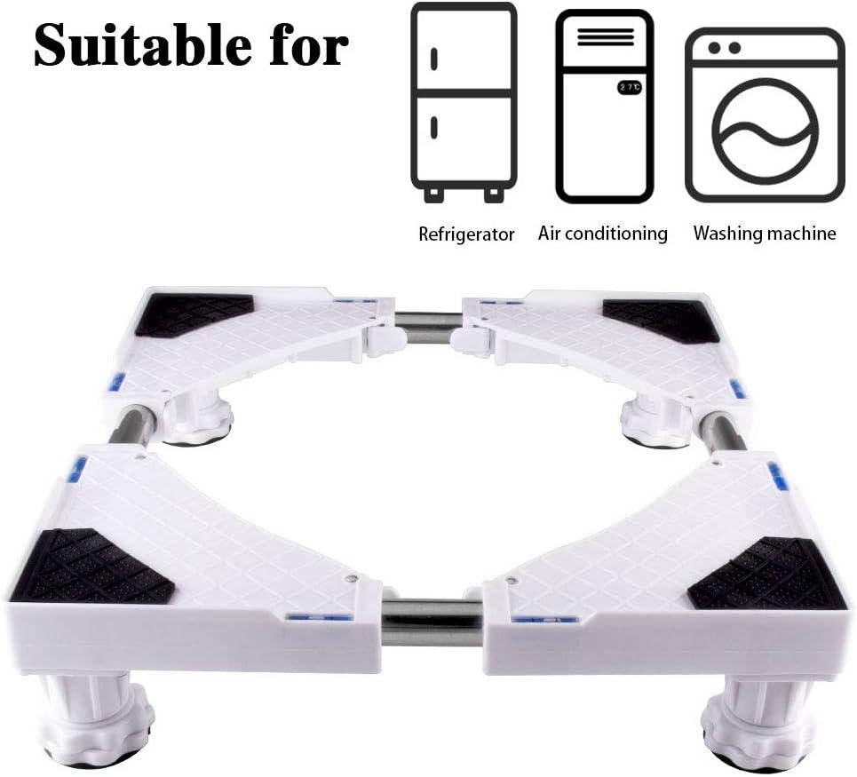 SMONTER - Soporte móvil universal ajustable para secadora, lavadora y refrigerador, 4 pies, blanco