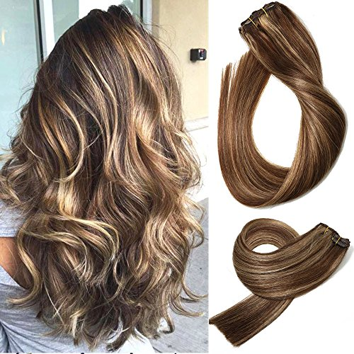 Honey Highlights (Human Hair Extensions Clip in Medium Brown with Honey Blonde Highlights 4/27 Double Weft Brazilian Hair Clip on Balayage Ombre Hair Extensions 15 inch 7 PCS Full Head Silky Straight 70g Remy Hair)