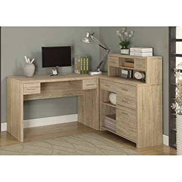 Amazoncom Monarch ReclaimedLook L Shaped Home Office Desk