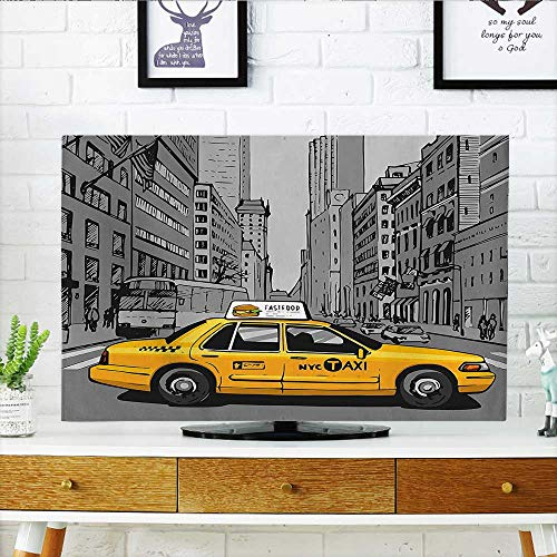 Auraisehome Dust Resistant Television Protector York City Metropolitan Buildings and Taxi Cartoon Sketchy Image Charcoal Grey and Yellow tv dust Cover W30 x H50 INCH/TV 52