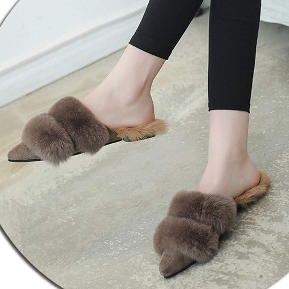 Zapatillas De Mujer Zapatillas De Casa Chanclas Invierno De Invierno CáLido Zapatillas De Casa Planas Suaves Dormitorio Mujer Zapatillas De Interior 3 de Color Caqui iAoFa