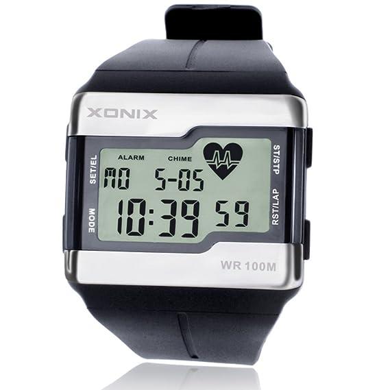 HombresS Reloj Digital Reloj calorías Pulso Prueba Movimiento Latido del corazón detección Luminosa Impermeable-B: Amazon.es: Relojes