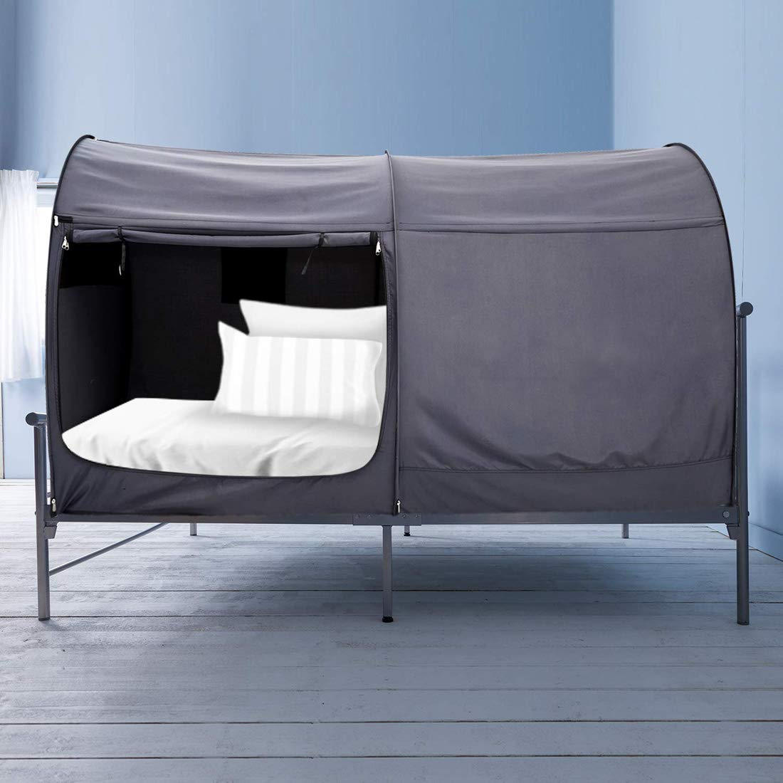 Alvantor Bed Canopy Bed Tents Dream Tents Privacy Space Twin Size Sleeping Tents Indoor Pop Up Portable Frame Curtains Breathable Grey Cottage Mattress Not Included