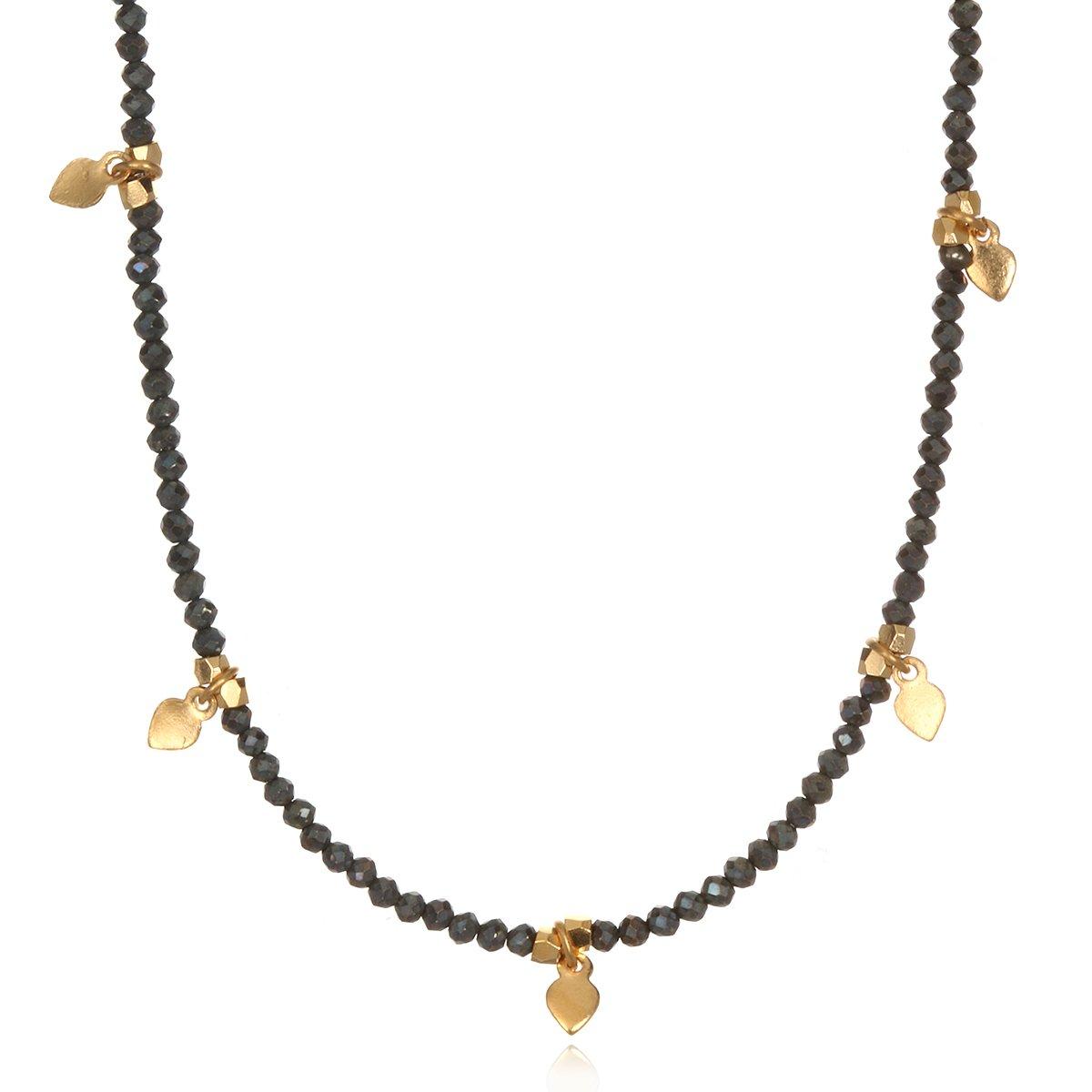Satya Jewelry Pyrite Gold Plate Lotus Petal Choker Necklace, 14''+2'' Extender