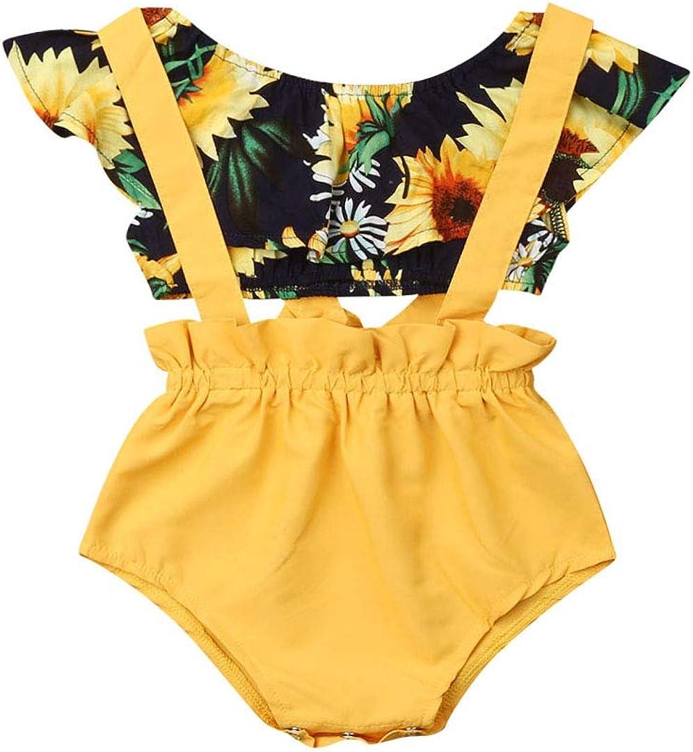 Fepege Baby Girls Sunflower Flutter Sleeve Off Shoulder Shirt + Elastic Floral Shorts + Headband