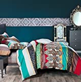 3-Piece Ethnic Bohemian Style Nice and Vivid Color Bedding Sets/Collections,Morocco Boho Chic Stripe Pattern Duvet Cover Sets with Shams,Exotic for Home Decor,Queen