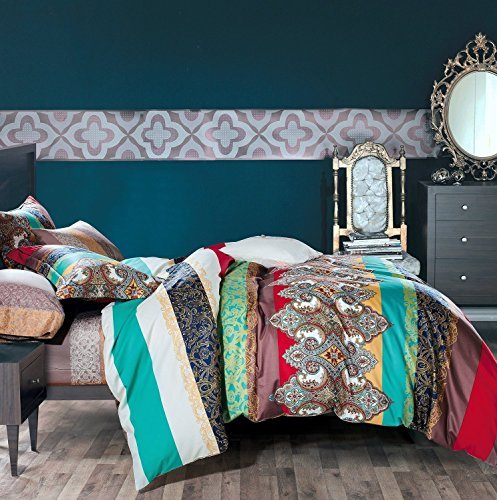 3-Piece Ethnic Bohemian Style Nice and Vivid Color Bedding Sets/Collections,Morocco Boho Chic Stripe Pattern Duvet Cover Sets with Shams,Exotic for Home Decor,Queen by UniTendo