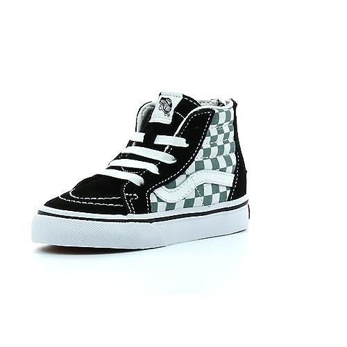 Vans - Sk8-hi Zip, Zapatillas Altas Bebé-Niños, Negro (Checkerboard/Black/Citadel), 19 EU: Amazon.es: Zapatos y complementos