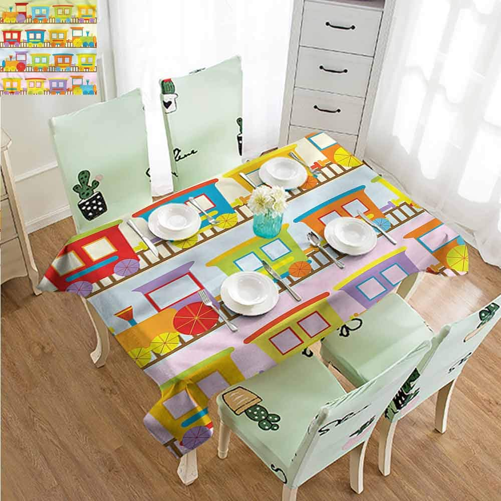 SLLART Fabric Tablecloth Train,Empty Toy Vehicle Childhood W60 xL102,for Party
