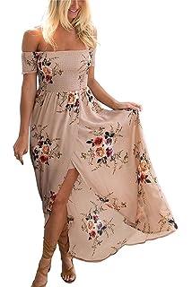848303d28ddc Yieune Sommerkleider Damen Blumen Maxi Kleid Off Shoulder Abendkleid  Strandkleid Party Schulter Kleider