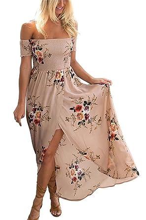 cb70c2b47c46 Yieune Sommerkleider Damen Blumen Maxi Kleid Off Shoulder Abendkleid  Strandkleid Party Schulter Kleider  Amazon.de  Bekleidung