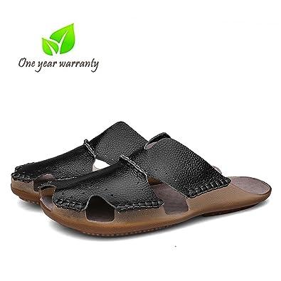 Amazon Com Aliwendy Leather Sandals Mens Casual Slides Non Slip