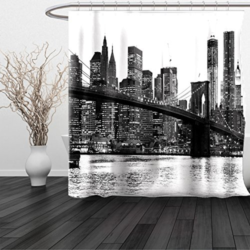 HAIXIA Shower Curtain Modern Brooklyn Bridge Sunset with Manhattan American New York City Famous Town Image Queen Full Black and White