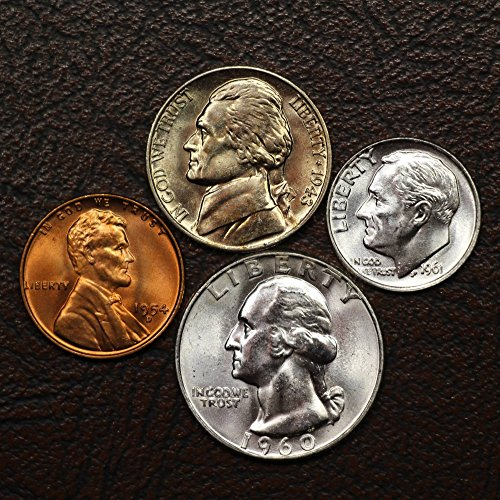 Old U.S. Coins Silver 4-Coin Presidential Set, Mint State Condition - Wheat Cent, Silver Jefferson War Nickel, Silver Roosevelt Dime, Silver Washington Quarter (Us Quarter Old Coin)