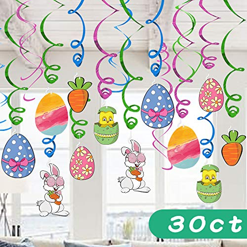 Ivenf Easter Decorations Hanging Swirl, Kids School Home Office Easter Eggs Bunny Carrot Accessories Party Supplies Gifts, 30 -