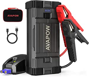 AVAPOW Jump Starter 2000A Peak 18000mAh Portable Battery Jump Starter for Car with Dual USB Quick Charge 3.0(Up to 8.0L Gas or 6.5L Diesel),12V Jump Box,Compact Lithium Car Power Pack